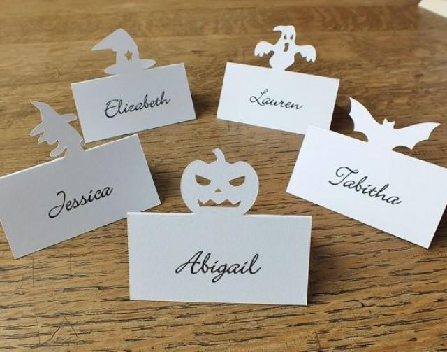 Personalised bat place cards personalized halloween place for Personalized wedding place cards