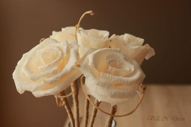 Rustic wedding centerpiece 6 rustic stemmed paper roses rustic