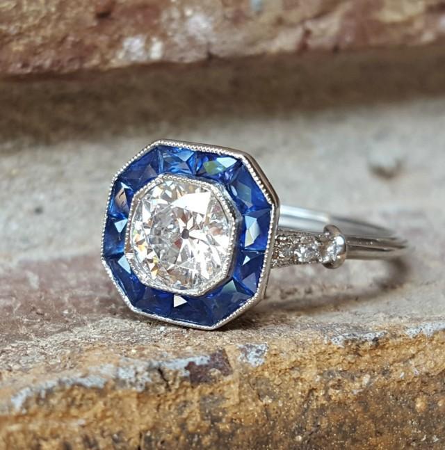 Vintage Antique Art Deco Old European Diamond And Sapphire