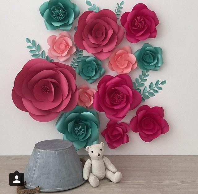 Set Of 13 Large Paper Flowers Paper Flowers Paper Flower Wall