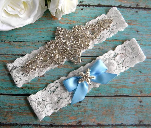 Beach Wedding Garter: Elegant Rhinestone Beach Wedding Garter / Starfish/ Beach