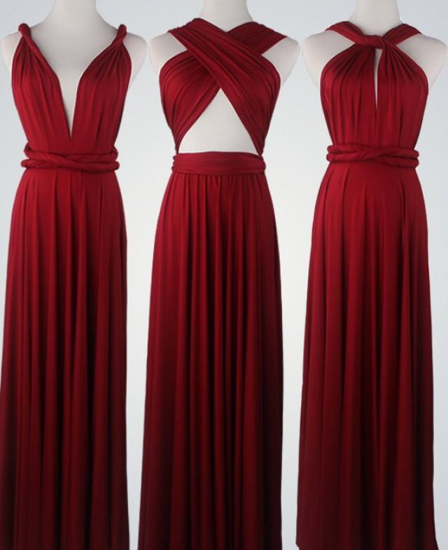Wine Red Bridesmaid Dress Infinity Dress Convertible Dress