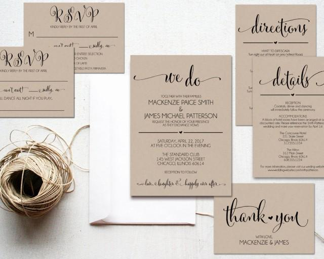 Cheapest Way To Send Wedding Invitations: We Do Wedding Invitation Template, Rustic Kraft Invitation