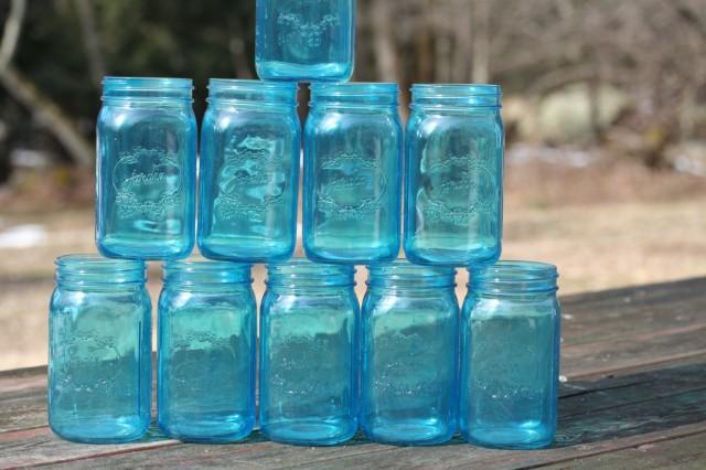 Free Ship 12 Blue Mason Jars Wedding 7 Inch Vintage Decor Shipping Usa Jar Ball Jardin Brand 2532966
