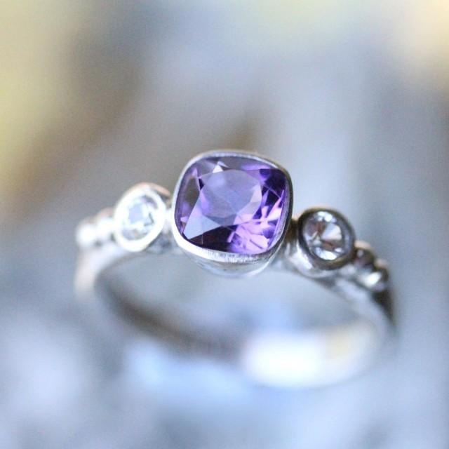 Deep Purple Amethyst And White Sapphire Sterling Silver Ring Gemstone