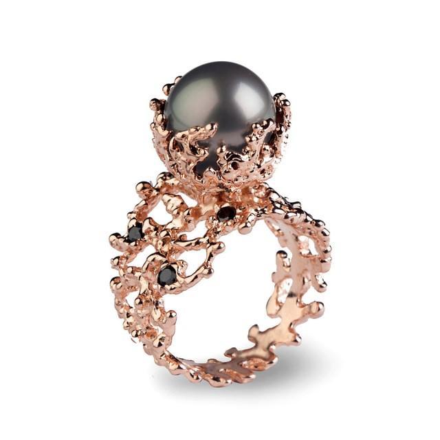 Coral Tahitian Pearl Ring Tahitian Pearl Engagement Ring
