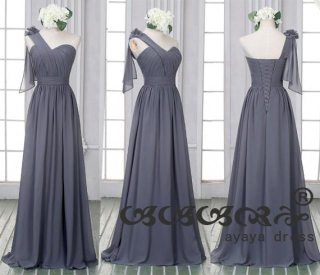 One shoulder dark gray prom dress custom made size color for Dark grey wedding dresses