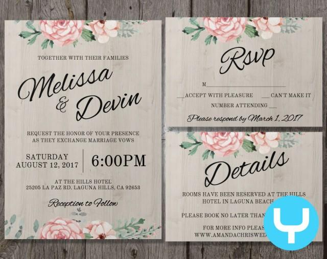 Printable Wedding Invitations Kits: Printable Floral Wedding Invitation Kit Templates + RSVP