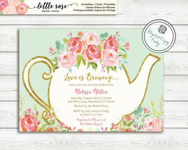 Love Is Brewing Bridal Shower Invitation Garden Tea Party High Invite Wedding Printable Lr1050 2533556 Weddbook