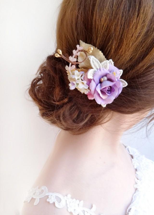 purple bridal hair piece purple wedding hair piece purple bridal hair pin Purple hair pin gold hair pin purple wedding hair pin
