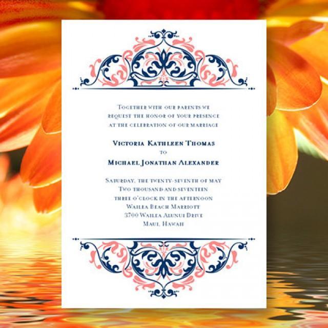 Printable Wedding Invitation Template Grace Coral Reef Marine Navy Blue 2534224