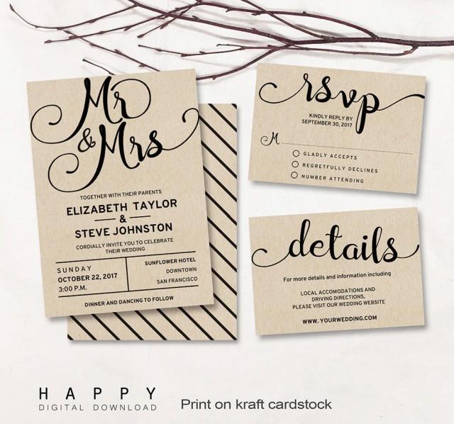 Printable Wedding Invitation Set, Editable Modern Wedding