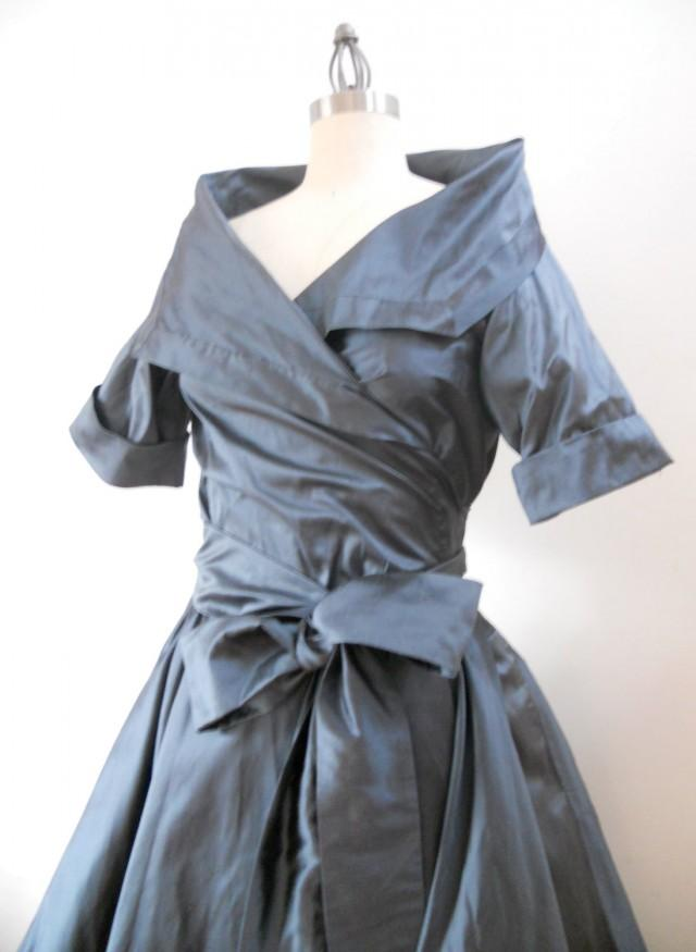 Custom Made Maria Severyna Slate Blue Wrap Full Skirt