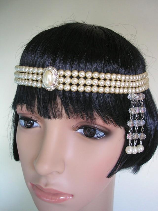 Gatsby Headpiece Pearl Headband Art Deco Forehead Band