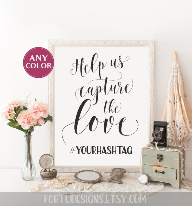 Wedding hashtag sign help us capture the love custom for Bathroom decor hashtags