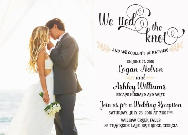Wedding Reception Invitation We Tied The Knot Elopement