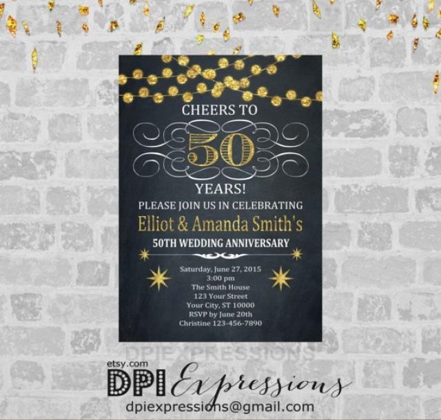 Golden Wedding Anniversary Invitation Printable 50th Invite Chalkboard Gold Digital Glitter 2535488
