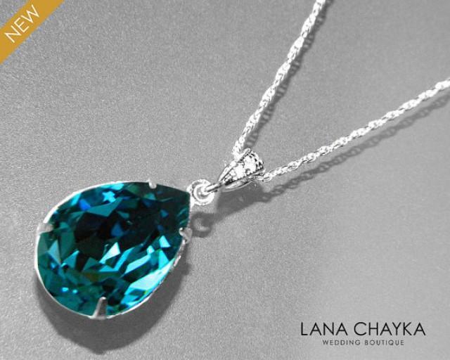 Indicolite Crystal Necklace Dark Teal Rhinestone Teardrop