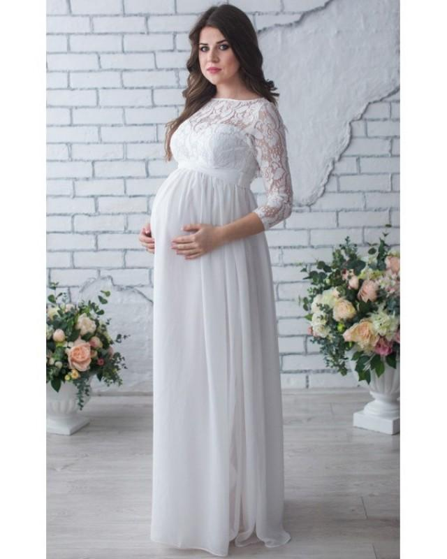 Wedding Gown For Pregnant Bride: Lace Maternity Dress,Photo Shoot,White Chiffon Dress