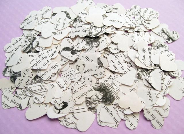 Novel Wedding Gifts: 500 Alice In Wonderland Heart Novel Book Confetti