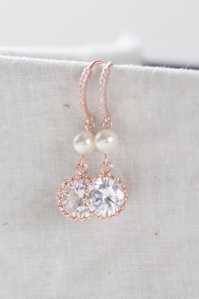 Rose Gold And Pearl Earrings Pink Diamond Pendant Earrings