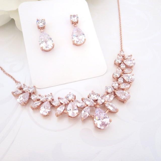 rose gold wedding jewelry rose gold bridal necklace. Black Bedroom Furniture Sets. Home Design Ideas