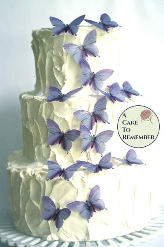Purple Wedding Cake Decorations 15 Large Lavender Color Edible Butterflies For Weddings 2536674