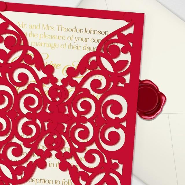 Printable Laser Cut Wedding Invitation Template Vector