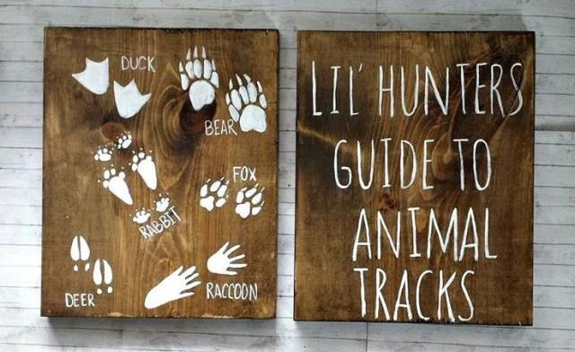 Lil Hunters Guide To Animal Tracks Rustic Wood Set Hunting