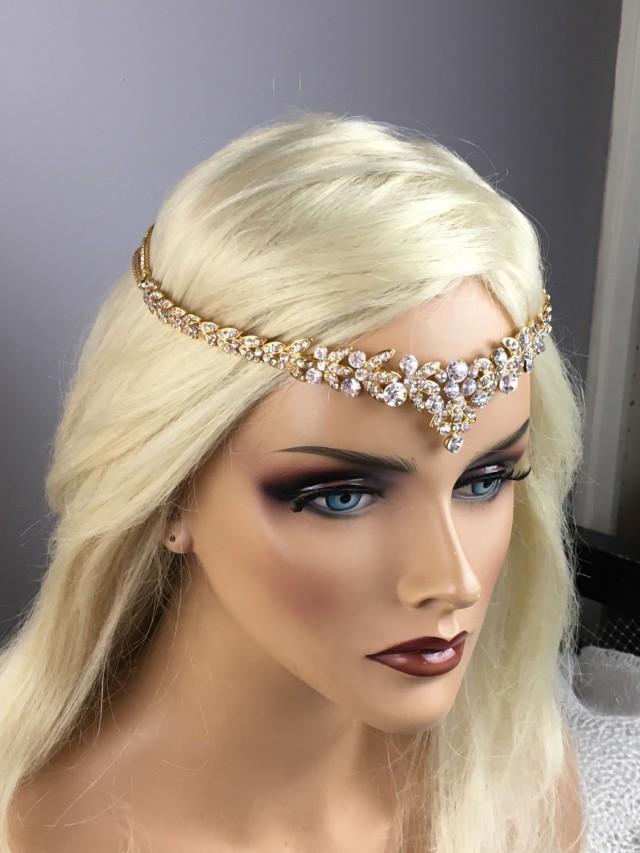 Bridal Gold Leaf Rhinestone Headband Art Deco Tiara