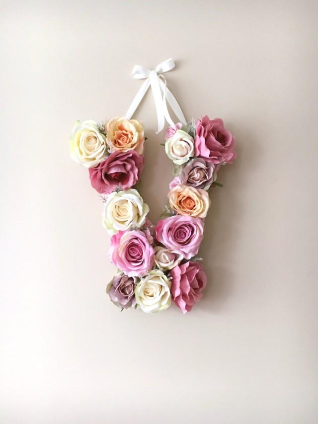 Flower Letters Fl Vintage Wedding Decor Personalized Nursery Wall Baby Shower 35 Cm 13 8 Art Photography Prop 2537626