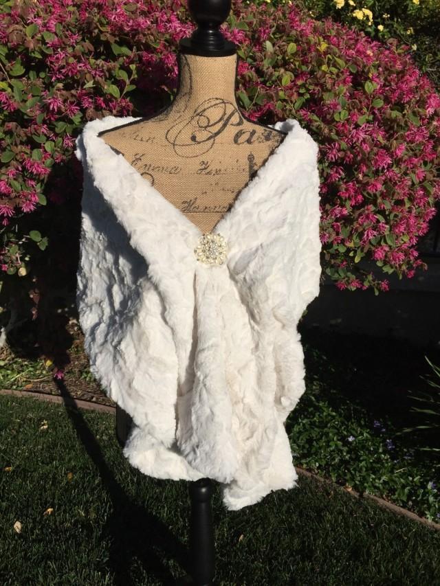 Cream Faux Fur Wrap Wedding Stole Bridal Shawl Bridal