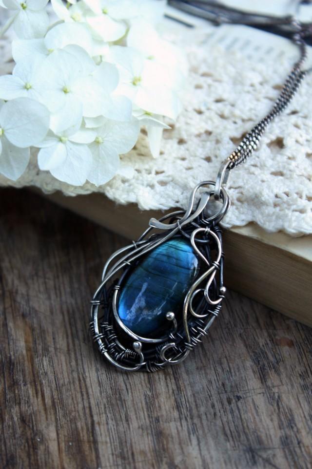 Blue Flash Labradorite Pendant Necklaces For Women Wire