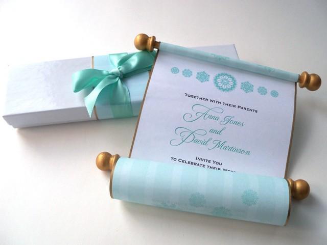 Winter Wedding Invitation Royal Princess Aqua And Gold Boxed Suite Fairy Tale Set Of 25 2537851