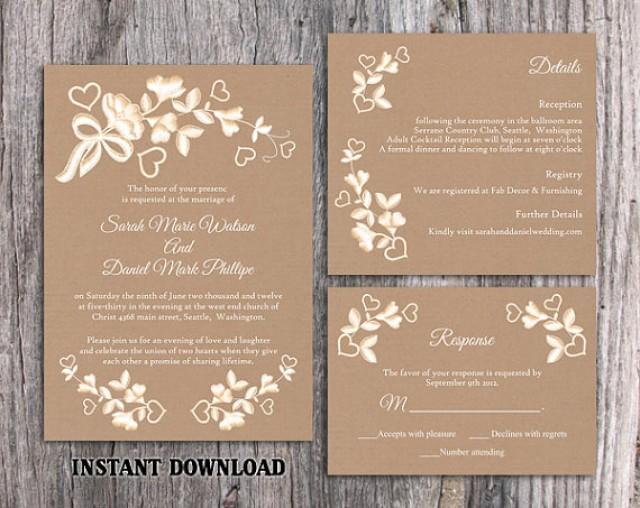 Diy Lace Wedding Invitation Template Set Editable Word File Download