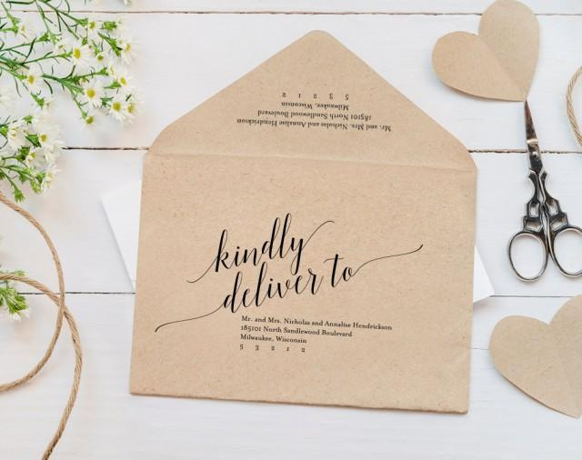 Diy Wedding Invitation Envelopes: Calligraphy Envelope Printable, Envelope Template, Wedding