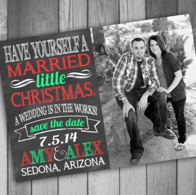 Christmas Save The Date Cards.Christmas Save The Date Photo Card Engagement Card Printable