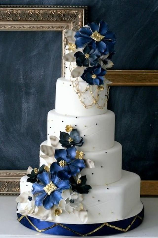 Pin navy blue wedding cake cake on pinterest 2538175 weddbook junglespirit Image collections