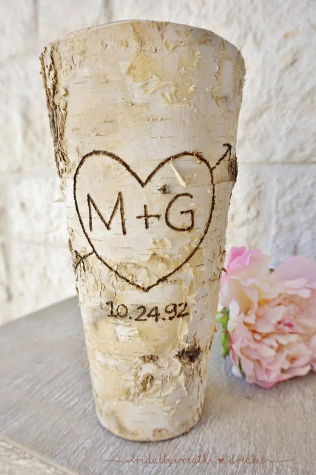 Initials Date Birch Bark Vase Centerpiece Wedding Centerpiece