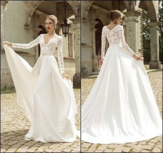 Long Sleeve Lace Wedding Dress Bridal Gown Custom Size 4 6 8 10 12 14 16 18 2538862