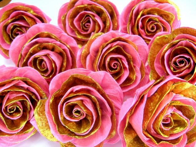 10 Pink And Gold Crepe Paper Rose 1st Birthday Party Diy