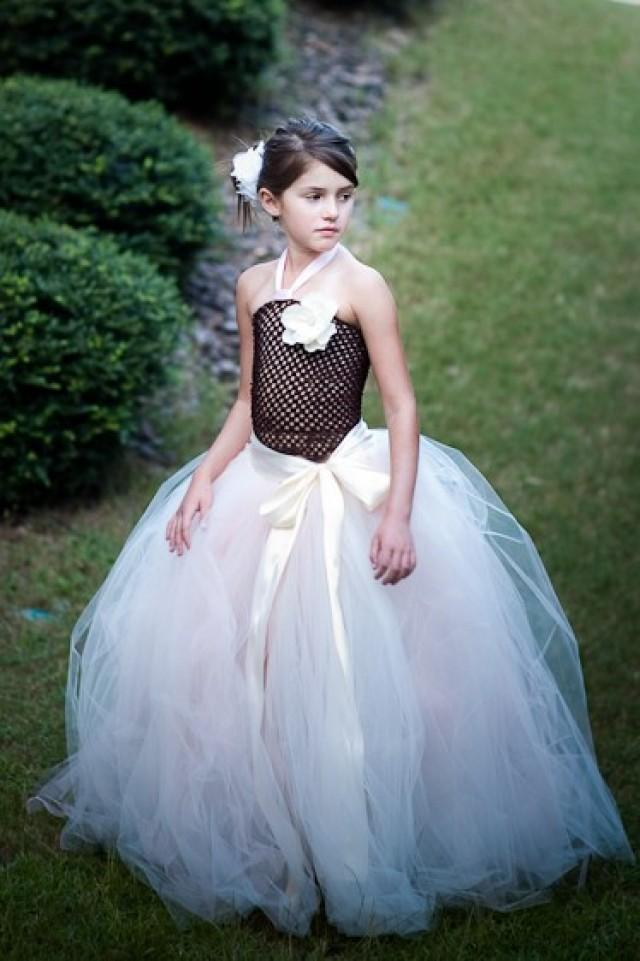 Tulle Skirt Tutu Long Skirts Flower Girl IVORY With A Hint Of Pink Wedding Girls Chic Tutus Sewn 2539233