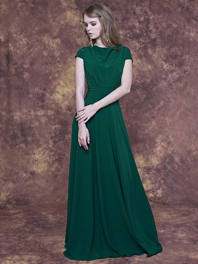 Long Emerald Green Dress With Cap Sleeve Emerald Bridesmaid Dress