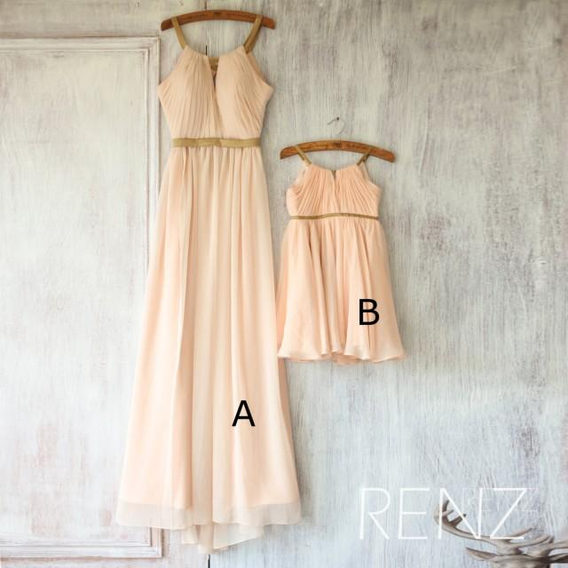 2016 mix and match bridesmaid dress long peach baby for Matching wedding and flower girl dresses