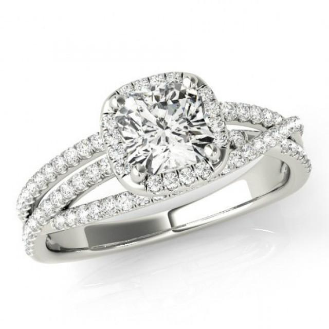 e7d894a6daeb9 2.20 Carat Cushion Forever One Moissanite & Diamond Halo Engagement ...
