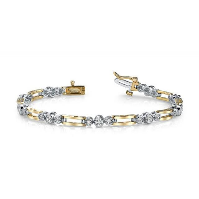 Men s Diamond Bracelet 14k Two Tone Gold Diamond Bracelets For