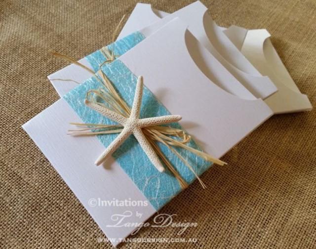 Hawaii wedding invitations w starfish and travel info card for Tropical wedding invitations