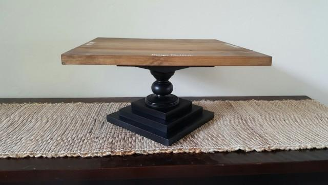 Square Wooden Rustic Cake Stand