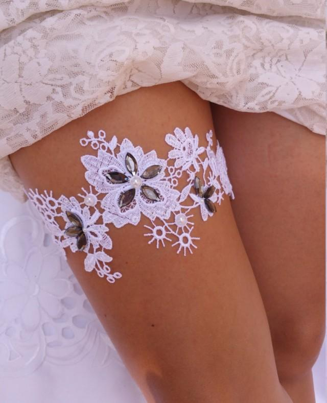 Grey Lace Garter, White Lace Garter Belt, Ivory Lace