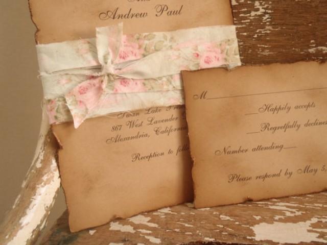 Rustic Romantic Wedding Invitations: Vintage, Mint Green, Pink, Shabby, Kraft, Wedding
